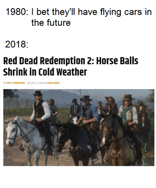 Cold Weather: 1980: I bet they'll have flying cars in  the futuree  2018:  Red Dead Redemption 2: Horse Balls  Shrink in Cold Weather  BY MATT MORRISON-ON SEP 22, 2018 IN GAME NEWS