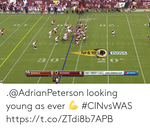 Pepsi: 1982  1983  15:3  afltor thedakices  NFCC ON  SUPER BO CHA  10  1st & 10  INOVA  30  6 1st 9:07 16  pepsi  BENGALS  www.redskins.com  REDSKINS  TIMEOUTS .@AdrianPeterson looking young as ever 💪  #CINvsWAS https://t.co/ZTdi8b7APB