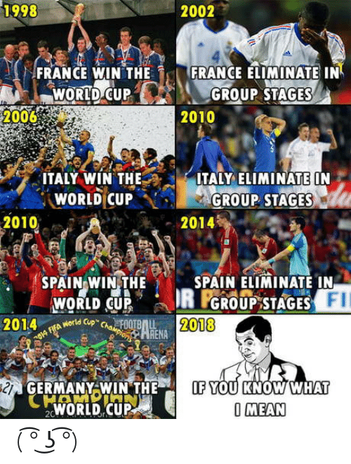 """Theif: 1998  2002  FRANCE WIN THE  FRANCE ELIMINATE IN  WORID C  UPGROUP STAGES  20068  2010  ITALY WÍN THEITALY LIMINATE ON  WORLD CUP···GROUP. STAGES  2010  2014  SPAIN WIN,THE  SPAIN ELIMINATE IN  FII  WORLD CUP  やworld Cup""""chaeF00TBAL  GROUP STAGES  2014  2018  OA  ARENA  GERMANY WIN THEIF YOU KNOW WHAT  WORLD CUP  O MEAN ( ͡° ͜ʖ ͡°)"""