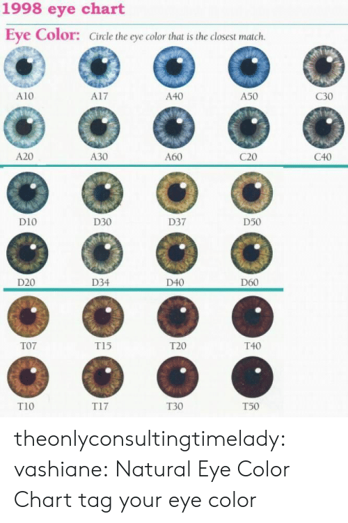 Tumblr, Blog, and Http: 1998 eye chart  Eye Color: Circle the eye color that is the closest match.  A10  A17  A40  A50  C30  A20  A30  A60  C20  C40  D10  D30  D37  D50  O 0  D20  D34  D40  D60  T07  T15  T20  T40  T10  T17  T30  T50 theonlyconsultingtimelady:  vashiane:  Natural Eye Color Chart  tag your eye color