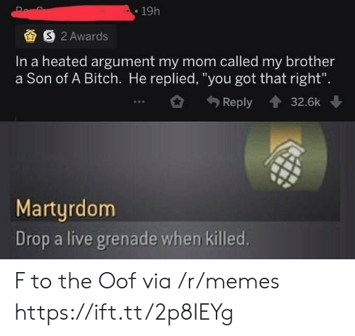 "oof: 19h  S 2 Awards  In a heated argument my mom called my brother  a Son of A Bitch. He replied, ""you got that right"".  Reply  32.6k  Martyrdom  Drop a live grenade when killed. F to the Oof via /r/memes https://ift.tt/2p8IEYg"