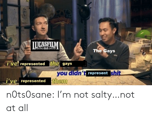 represent: 1Dablia  LUCASFILM  Ltde  The Gays  i've represented the gays  you didn't represent shit  j've represented them n0ts0sane:  I'm not salty…not at all