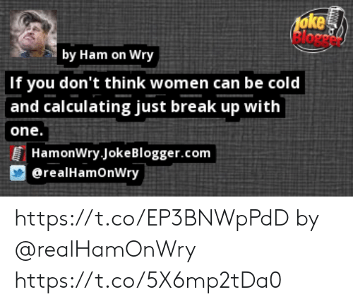 Memes, Blogger, and Break: 1oke  by Ham on Wry  If you don't think women can be cold  and calculating just break up with  one.  HamonWry.Joke Blogger.com  @realHamOnWry https://t.co/EP3BNWpPdD by @realHamOnWry https://t.co/5X6mp2tDa0