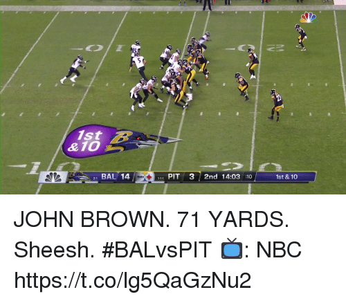 Memes, John Brown, and 🤖: 1st  21 BAL 14  , PIT 3 2nd 14:03 :10  1st & 10 JOHN BROWN.  71 YARDS.  Sheesh. #BALvsPIT  📺: NBC https://t.co/lg5QaGzNu2