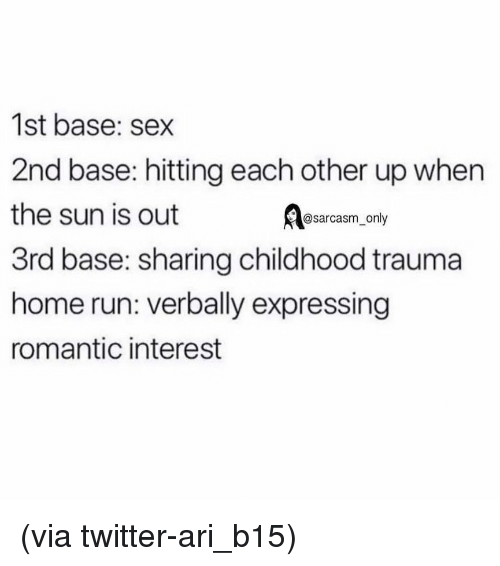 Expressing: 1st base: sex  2nd base: hitting each other up when  the sun is out  3rd base: sharing childhood trauma  home run: verbally expressing  romantic interest  @sarcasm_only (via twitter-ari_b15)