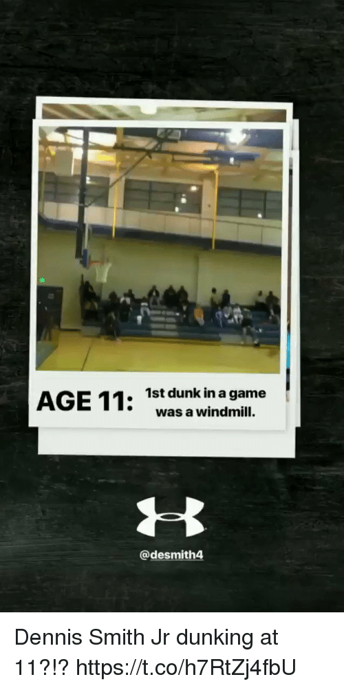 Dennis Smith Jr: 1st dunk in a game  was a windmill.  @desmith4 Dennis Smith Jr dunking at 11?!? https://t.co/h7RtZj4fbU