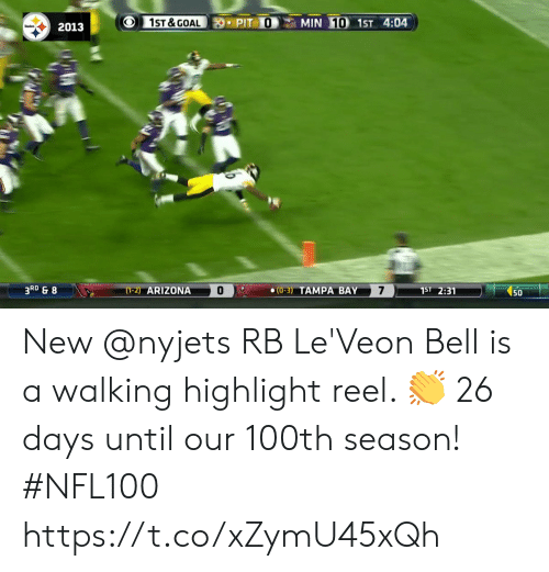 0 3: 1ST &GOAL  MIN 10 1ST 4:04  PIT O  2013  3RD & 8  7  (1-2) ARIZONA  1ST 2:31  (0-3) TAMPA BAY  50 New @nyjets RB Le'Veon Bell is a walking highlight reel. 👏  26 days until our 100th season! #NFL100 https://t.co/xZymU45xQh