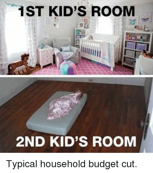 Budget, Kids, and Room: 1ST KID'S ROOM  2ND KID'S ROOM Typical household budget cut.