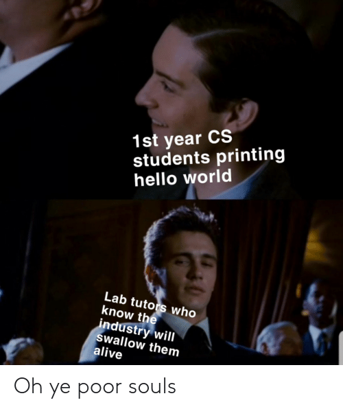 Alive, Hello, and World: 1st year CS  students printing  hello world  Lab tutors who  know the  industry will  swallow them  alive Oh ye poor souls