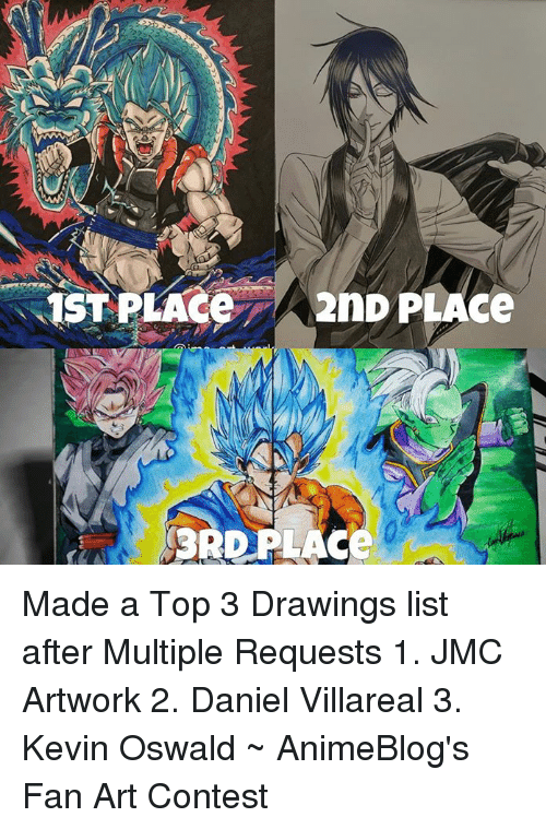 oswald: 1STPLAce  2nD PLACe  3RD PLACe Made a Top 3 Drawings list after Multiple Requests 1. JMC Artwork 2. Daniel Villareal 3. Kevin Oswald ~ AnimeBlog's Fan Art Contest