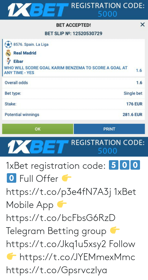 follow: 1xBet registration code: 5️⃣0️⃣0️⃣0️⃣  Full Offer 👉 https://t.co/p3e4fN7A3j  1xBet Mobile App 👉 https://t.co/bcFbsG6RzD  Telegram Betting group 👉 https://t.co/Jkq1u5xsy2  Follow 👉 https://t.co/JYEMmexMmc https://t.co/GpsrvczIya