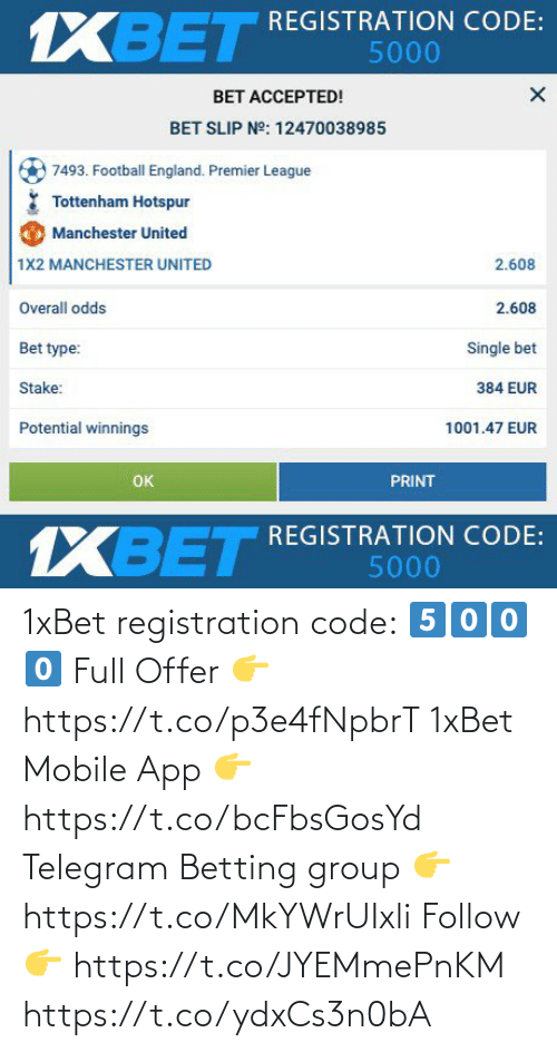 follow: 1xBet registration code: 5️⃣0️⃣0️⃣0️⃣  Full Offer 👉 https://t.co/p3e4fNpbrT  1xBet Mobile App 👉 https://t.co/bcFbsGosYd  Telegram Betting group 👉 https://t.co/MkYWrUIxli  Follow 👉 https://t.co/JYEMmePnKM https://t.co/ydxCs3n0bA
