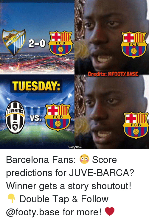 vss: 2-0  F C B  TUESDAY:  jUVENTUS  VSS  FC B  Footy Base  F C B  Credits: @FOOTY BASE  F C B Barcelona Fans: 😳 Score predictions for JUVE-BARCA? Winner gets a story shoutout! 👇 Double Tap & Follow @footy.base for more! ❤️