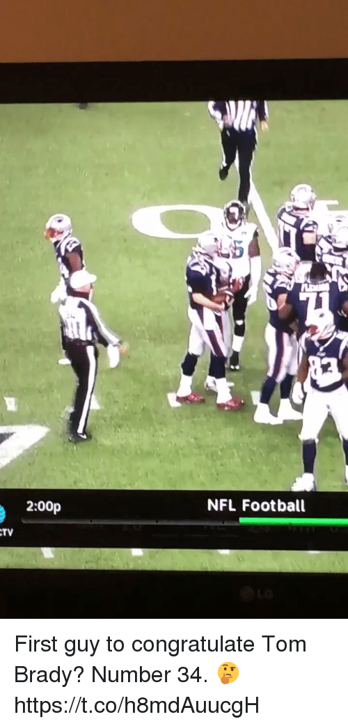 Football, Nfl, and Sports: 2:00p  NFL Football  TV First guy to congratulate Tom Brady? Number 34. 🤔  https://t.co/h8mdAuucgH
