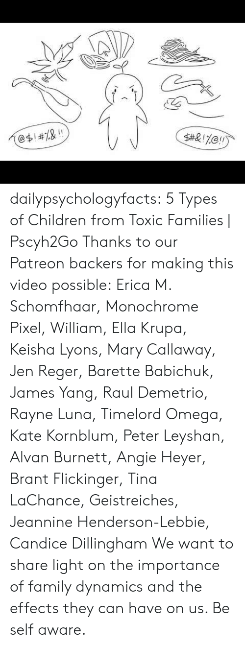 Omega: 2  @$1#7.& !! dailypsychologyfacts: 5 Types of Children from Toxic Families   Pscyh2Go Thanks to our Patreon backers for making this video possible:Erica M. Schomfhaar, Monochrome Pixel, William, Ella Krupa, Keisha Lyons, Mary Callaway, Jen Reger, Barette Babichuk, James Yang, Raul Demetrio, Rayne Luna, Timelord Omega, Kate Kornblum, Peter Leyshan, Alvan Burnett, Angie Heyer, Brant Flickinger, Tina LaChance, Geistreiches, Jeannine Henderson-Lebbie, Candice Dillingham  We want to share light on the importance of family dynamics and the effects they can have on us. Be self aware.