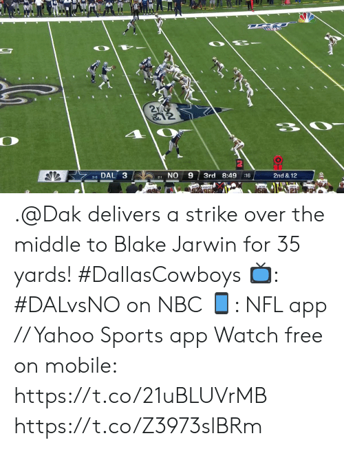 Memes, Nfl, and Sports: 2  &12  DAL 3  NO  9  3rd 8:49  2nd & 12  :16  3-0  2-1 .@Dak delivers a strike over the middle to Blake Jarwin for 35 yards! #DallasCowboys  ?: #DALvsNO on NBC ?: NFL app // Yahoo Sports app Watch free on mobile: https://t.co/21uBLUVrMB https://t.co/Z3973slBRm