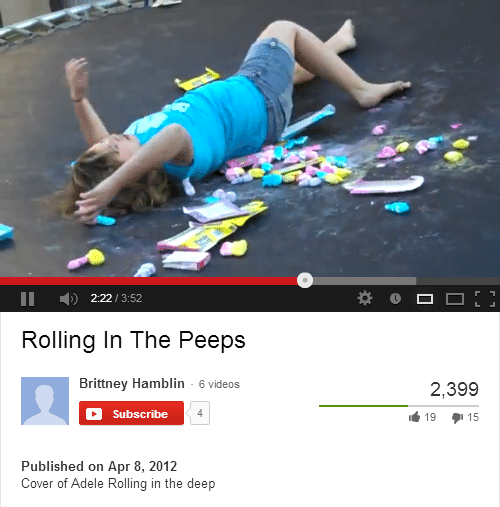 Adele, Videos, and Deep: 2:22/3:52  Rolling In The Peeps  Brittney Hamblin 6 videos  2,399  19 15  Subscribe  Published on Apr 8, 2012  Cover of Adele Rolling in the deep