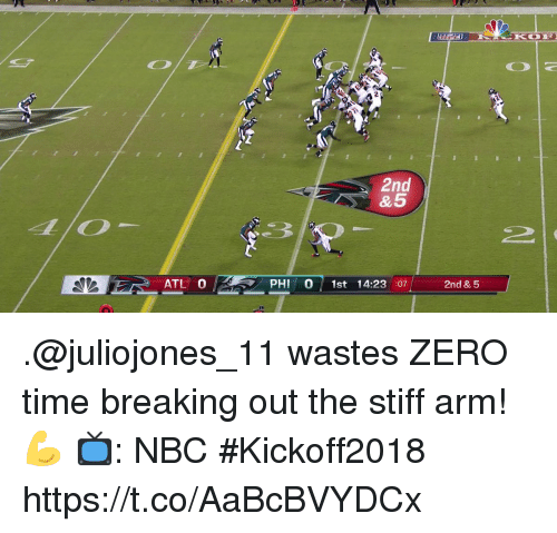 Memes, Zero, and Time: 2  2nd  & 5  ATL 0  PHI 0 1st 14:23 :07  2nd & 5 .@juliojones_11 wastes ZERO time breaking out the stiff arm! 💪  📺: NBC #Kickoff2018 https://t.co/AaBcBVYDCx
