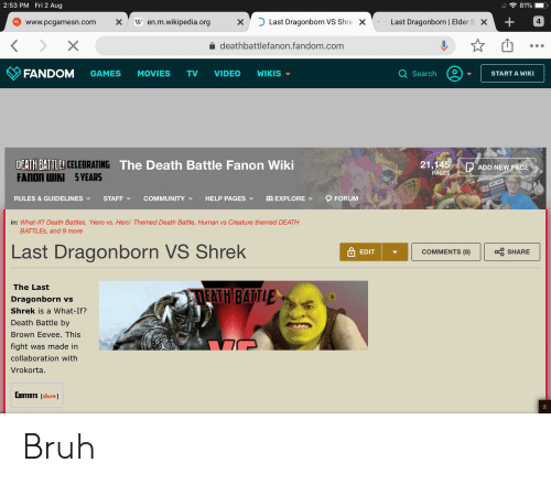 Bruh, Community, and Movies: 2:53 PM Fri 2 Aug  81%  W en.m.wikipedia.org  Last Dragonborn VS Shre  Last Dragonborn | Elder S  4  X  X  X  www.pcgamesn.com  X  deathbattlefanon.fandom.com  FANDOM  Q Search  GAMES  MOVIES  WIKIS  TV  VIDEO  START A WIKI  DEATH BATTLE CELEBRATING The Death Battle Fanon Wiki  FANON WIKI 5 YEARS  21,145  ADD NEW PAGE  PAGES  RULES & GUIDELINES  FORUM  STAFF  COMMUNITY  AA EXPLORE  HELP PAGES  in: What-If? Death Battles, 'Hero vs. Hero' Themed Death Battle, Human vs Creature themed DEATH  BATTLES, and 9 more  Last Dragonborn VS Shrek  aSHARE  COMMENTS (8)  EDIT  The Last  EATH BATLE  Dragonborn vs  Shrek is a What-If?  Death Battle by  Brown Eevee. This  fight was made in  collaboration with  Vrokorta.  CONTENTS [show Bruh
