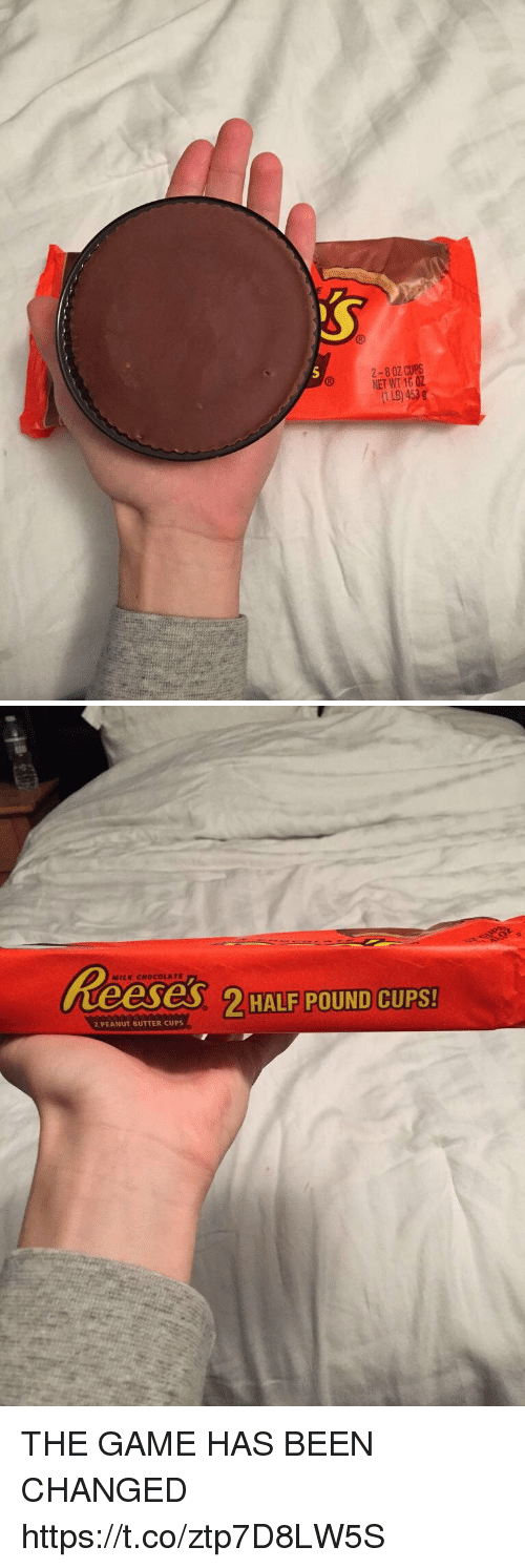 The Game, Chocolate, and Game: 2-8 0Z CUPS  NET WT 16 02  (1 LB) 453g   MILK CHOCOLATE  2HAIP POUND CUPS!  2 PEANUT BUTTER CUPS THE GAME HAS BEEN CHANGED https://t.co/ztp7D8LW5S