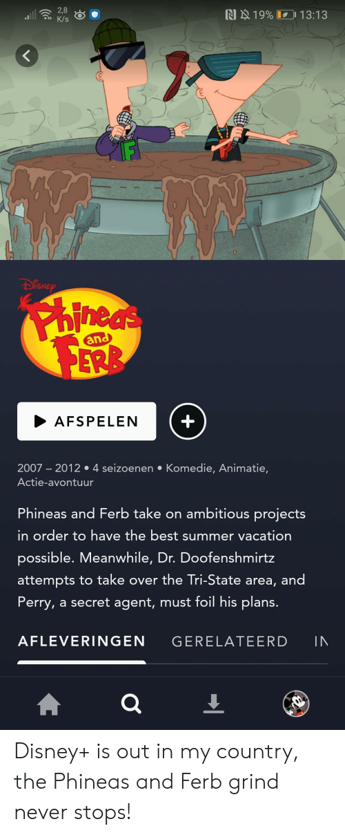 Disney, Phineas and Ferb, and Summer: 2,8  K/s  N 19% 13:13  DiSNEP  Phineds  and  +  AFSPELEN  2007 2012 4 seizoenen Komedie, Animatie,  Actie-avontuur  Phineas and Ferb take on ambitious projects  in order to have the best summer vacation  possible. Meanwhile, Dr. Doofenshmirtz  attempts to take over the Tri-State area, and  Perry, a secret agent, must foil his plans.  AFLEVERINGEN  GERELATEERD  IN Disney+ is out in my country, the Phineas and Ferb grind never stops!