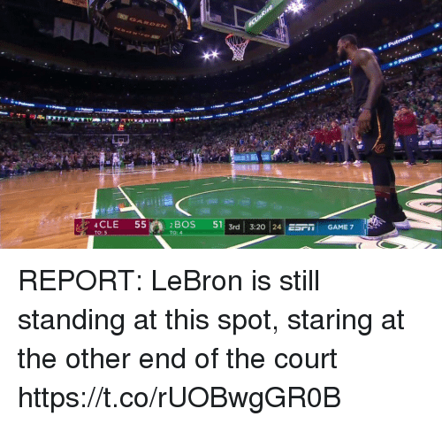 game-7: 2 BOS  51| 3rd | 3:20 | 24 ESFİİ  GAME 7  CLE 55n  TO: 5 REPORT: LeBron is still standing at this spot, staring at the other end of the court https://t.co/rUOBwgGR0B