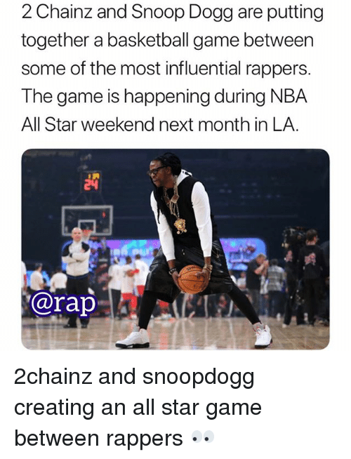 2chainz: 2 Chainz and Snoop Dogg are putting  together a basketball game between  some of the most influential rappers.  The game is happening during NBA  All Star weekend next month in LA.  @rap 2chainz and snoopdogg creating an all star game between rappers 👀