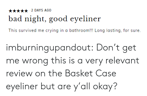 Crying, Tumblr, and Blog: 2 DAYS AGO  d night, good eyeliner  This survived me crying in a bathroom!!! Long lasting, for sure imburningupandout:  Don't get me wrong this is a very relevant review on the Basket Case eyeliner but are y'all okay?
