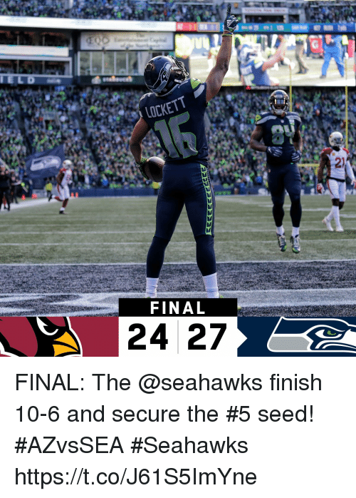 Memes, Seahawks, and 🤖: 2)  FINAL FINAL: The @seahawks finish 10-6 and secure the #5 seed! #AZvsSEA  #Seahawks https://t.co/J61S5ImYne