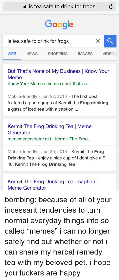 """know your meme: 2 is tea safe to drink for frogs  C  Google  is tea safe to drink for frogs  WEB  NEWS  SHOPPING  IMAGES  VIDEOS  But That's None of My Business Know Your  Meme  Know Your Meme > memes  >but-thats-n  ...  Mobile-friendly - Jun 22, 2014- The first post  featured a photograph of Kermit the Frog drinking  a glass of iced tea with a caption  Kermit The Frog Drinking Tea   Meme  Generator  m.memegenerator.net Kermit-The-Frog..  Mobile-friendly - Jun 20, 2014 - Kermit The Frog  Drinking Tea enjoy a nice cup of I dont give a F.  40. Kermit The Frog Drinking Tea  Kermit The Frog Drinking Tea - caption    Meme Generator bombing: because of all of your incessant tendencies to turn normal everyday things into so called """"memes"""" i can no longer safely find out whether or not i can share my herbal remedy tea with my beloved pet. i hope you fuckers are happy"""