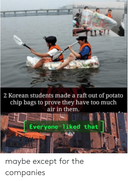 Korean: 2 Korean students made a raft out of potato  chip bags to prove they have too much  air in them.  Everyone liked that maybe except for the companies