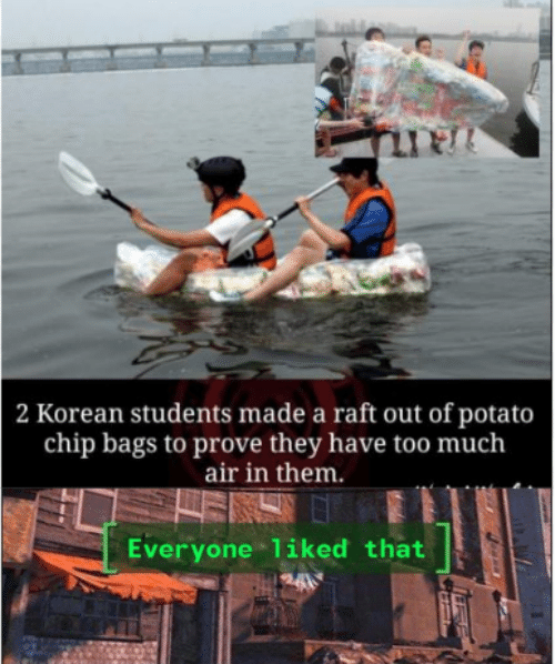 Korean: 2 Korean students made a raft out of potato  chip bags to prove they have too much  air in them.  Everyone liked that