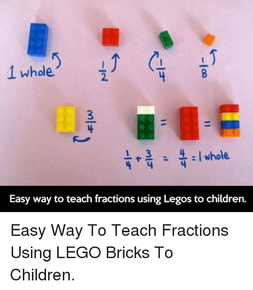 Children, Lego, and Legos: 2.  l+3Iwhole  Easy way to teach fractions using Legos to children. <p>Easy Way To Teach Fractions Using LEGO Bricks To Children.</p>