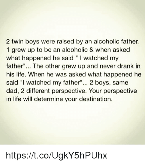 """Dad, Life, and Memes: 2 twin boys were raised by an alcoholic father.  1 grew up to be an alcoholic & when asked  what happened he said """" I watched my  father""""... The other grew up and never drank in  his life. When he was asked what happened he  said """"I watched my father""""... 2 boys, same  dad, 2 different perspective. Your perspective  in life will determine your destination. https://t.co/UgkY5hPUhx"""