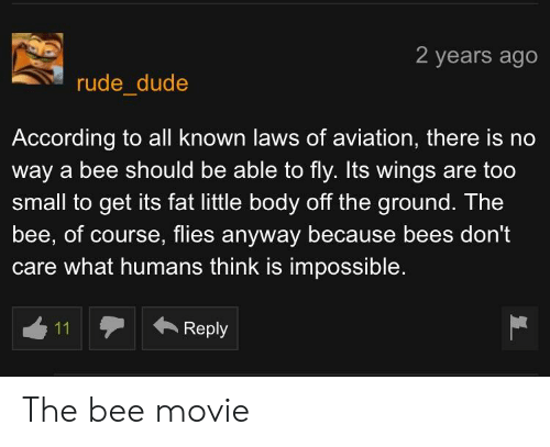Bee Movie, Dude, and Rude: 2 years ago  rude dude  According to all known laws of aviation, there is no  way a bee should be able to fly. Its wings are too  small to get its fat little body off the ground. The  bee, of course, flies anyway because bees don't  care what humans think is impossible.  ←Reply The bee movie