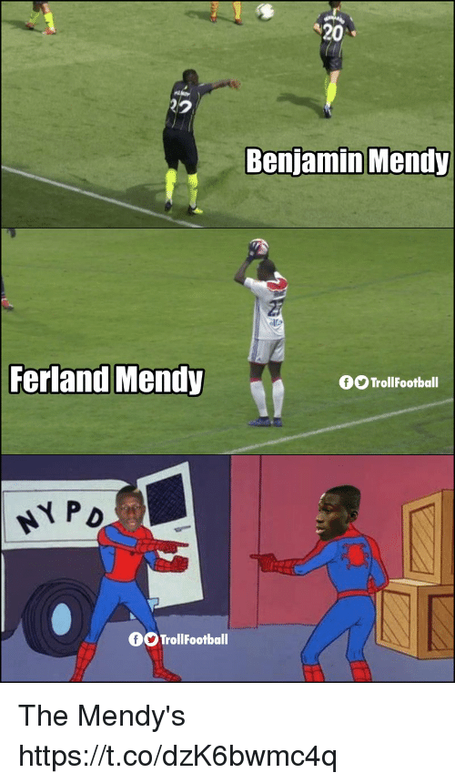 Memes, 🤖, and Benjamin: 20  2.  Benjamin Mendy  Ferland Mendy  OO TrollFootball  PD  OOTrollFootball The Mendy's https://t.co/dzK6bwmc4q