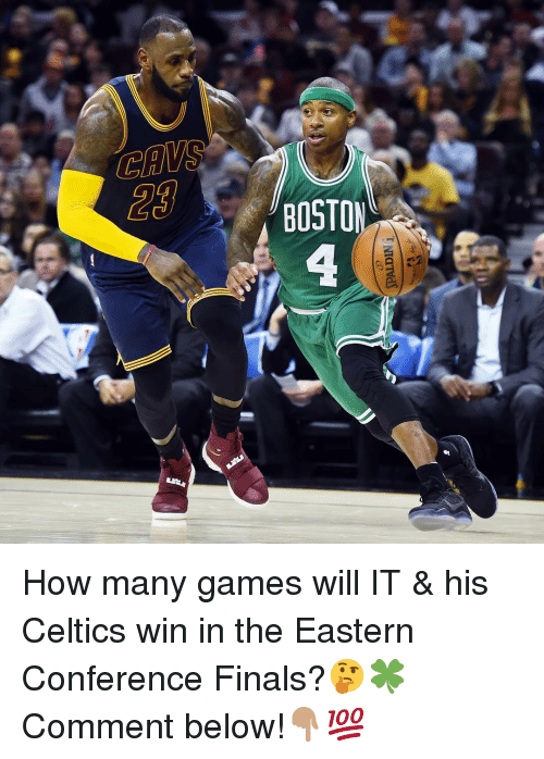 Conference Finals: 20  BOSTO How many games will IT & his Celtics win in the Eastern Conference Finals?🤔🍀 Comment below!👇🏽💯