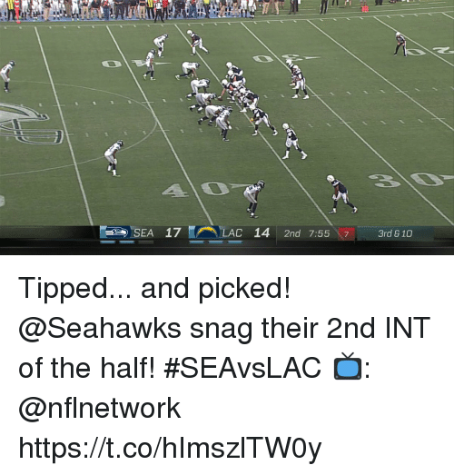 Memes, Seahawks, and 🤖: 20  C-  SEA  17  (A\ELAC  14  2nd  7:5517-3rd 810 Tipped... and picked!  @Seahawks snag their 2nd INT of the half! #SEAvsLAC  📺: @nflnetwork https://t.co/hImszlTW0y