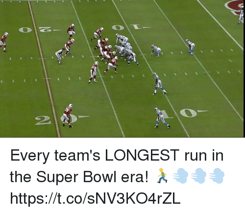 Memes, Run, and Super Bowl: 20 Every team's LONGEST run in the Super Bowl era! 🏃💨💨💨 https://t.co/sNV3KO4rZL