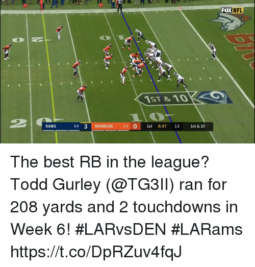 Memes, Best, and Broncos: 20  FOXNFL  1ST&1D  RAMS  5-0 3 BRONCOS 2-3  011st 8:47 13 1st & 10 The best RB in the league?  Todd Gurley (@TG3II) ran for 208 yards and 2 touchdowns in Week 6! #LARvsDEN #LARams https://t.co/DpRZuv4fqJ