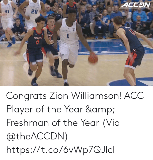 Memes, Virginia, and 🤖: 20  RGI  VIRGINIA Congrats Zion Williamson! ACC Player of the Year & Freshman of the Year  (Via @theACCDN)   https://t.co/6vWp7QJlcI