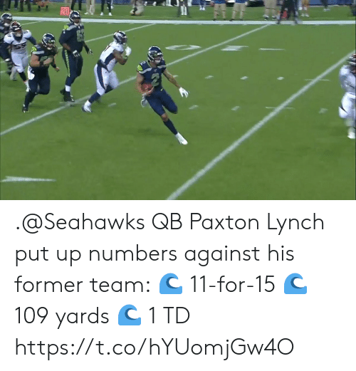 Memes, Seahawks, and 🤖: 20 .@Seahawks QB Paxton Lynch put up numbers against his former team: 🌊 11-for-15 🌊 109 yards 🌊 1 TD https://t.co/hYUomjGw4O