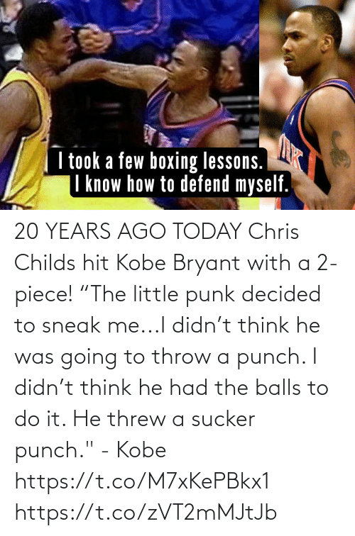 """Kobe Bryant: 20 YEARS AGO TODAY Chris Childs hit Kobe Bryant with a 2-piece!  """"The little punk decided to sneak me...I didn't think he was going to throw a punch. I didn't think he had the balls to do it. He threw a sucker punch."""" - Kobe  https://t.co/M7xKePBkx1 https://t.co/zVT2mMJtJb"""