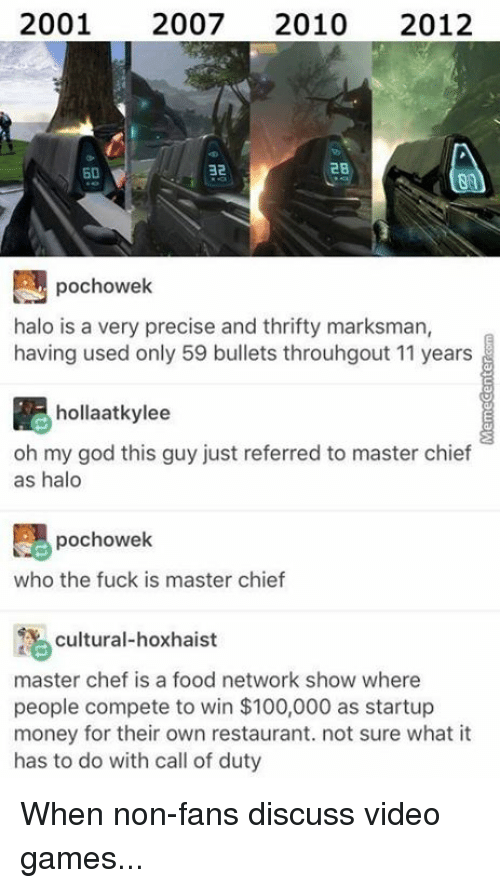 master chief: 2001 2007  2010  2012  2B  32  pochowek  halo is a very precise and thrifty marksman,  having used only 59 bullets throuhgout 11 years  hollaatkylee  oh my god this guy just referred to master chief  as halo  pochowek  who the fuck is master chief  cultural-hoxhaist  master chef is a food network show  where  people compete to win $100,000 as startup  money for their own restaurant. not sure what it  has to do with call of duty When non-fans discuss video games...