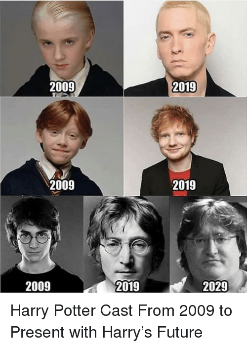 Future, Harry Potter, and Potter: 2009  2019  2009  2019  2009  2019  2029 Harry Potter Cast From 2009 to Present with Harry's Future