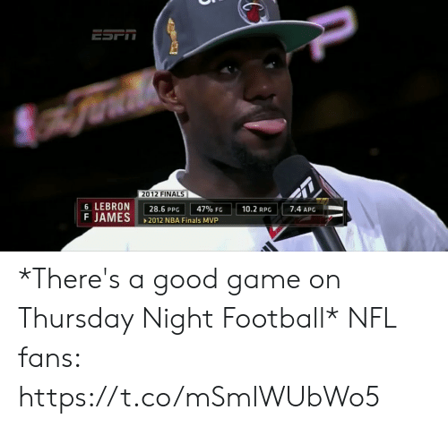 Finals: 2012 FINALS  6 LEBRON  F JAMES  7.4 APG  10.2 RPG  47% FG  28.6 PPG  2012 NBA Finals MVP *There's a good game on Thursday Night Football*  NFL fans: https://t.co/mSmlWUbWo5