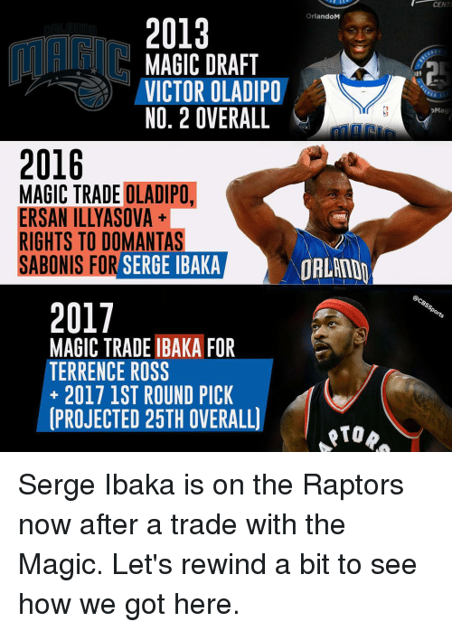 Memes, 🤖, and Ross: 2013  OrlandoM  MAGIC DRAFT  VICTOR OLADIPO  NO, 2 OVERALL  2016  MAGIC TRADE OLADIPO.  ERSANTILLYASOVA  RIGHTS TO DOMANTAS  SABONIS FOR  SERGE IBAKA  ORLAND  2017  MAGIC TRADE IBAKA FOR  TERRENCE ROSS  2017 1ST ROUND PICK  PROJECTED 25TH OVERALL)  CENT  PM  @CBsspo Serge Ibaka is on the Raptors now after a trade with the Magic. Let's rewind a bit to see how we got here.