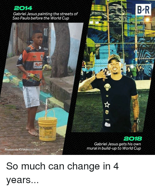 Gabriel Jesus: 2014  Gabriel Jesus painting the streets of  Sao Paulo before the World Cup  2018  Gabriel Jesus gets his own  mural in build-up to World Cup  Photos via IG/dejesusoficial So much can change in 4 years...