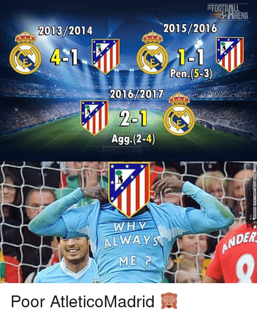 agg: 2015/2016  2013/2014  T-1  Pen-(5-3)  2016/2017  Agg.(2-4)  WHY  ALWAYS  DER Poor AtleticoMadrid 🙈