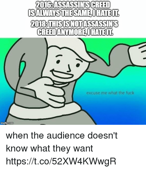 Assassin's Creed, Creed, and Fuck: 2016:ASSASSINS CREED  20183THISISNOTASSASSINS  CREEDANYMOREHATE  IT  excuse me what the fuck when the audience doesn't know what they want https://t.co/52XW4KWwgR